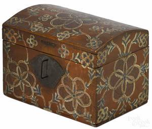 Lancaster County Pennsylvania painted poplar Compass Artist dresser box early 19th c