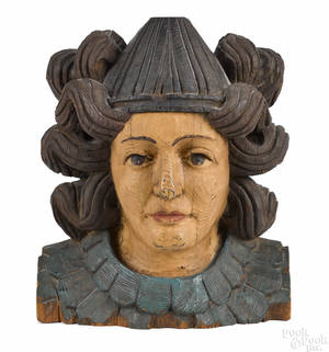 Carved and painted pine bust of a woman 19th c
