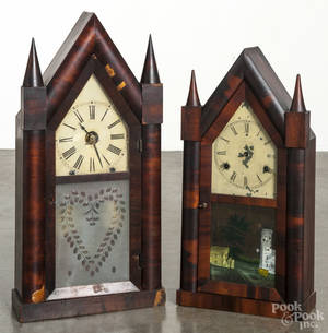 Chauncey Jerome mahogany steeple clock with a fusee movement