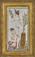 Capo di Monte porcelain plaque depicting Naiad