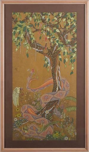 Mixed media of the Garden of Eden