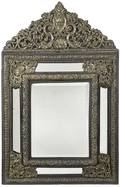 Continental ebonized and embossed brass mirror