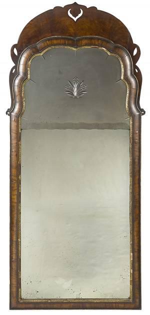 George II walnut veneer looking glass