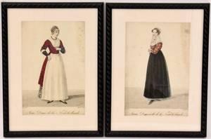 Two Lant Female Costume Engravings