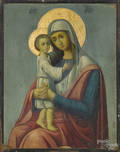 Russian oil on panel icon of the Mother and Child