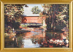 Contemporary American oil on canvas landscape with a covered bridge