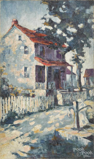 Oil on canvas impressionist landscape of a house with a picket fence