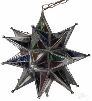 Moravian star hanging light with colored leaded glass panels