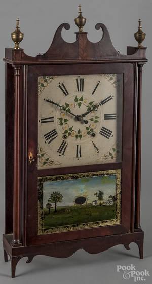 Samuel Terry Federal mahogany pillar and scroll clock
