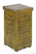 Wisconsin painted pine advertising bin late 19th c