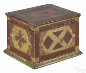 Carved and painted pine box late 19th c