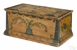New England painted pine miniature blanket chest early 19th c