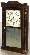 Eli Terry  Son stenciled column and splat mantel clock