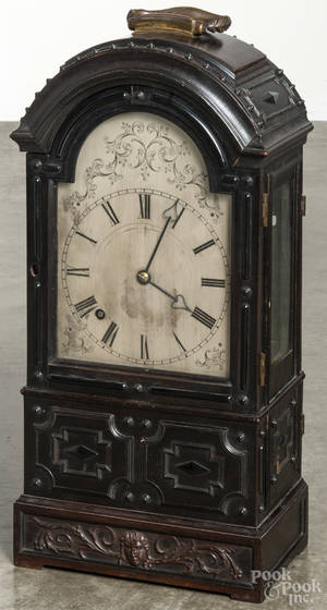 English walnut bracket clock with a fusee movement and a silvered dial