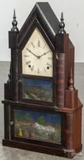 E N Welch mahogany steeple on steeple shelf clock