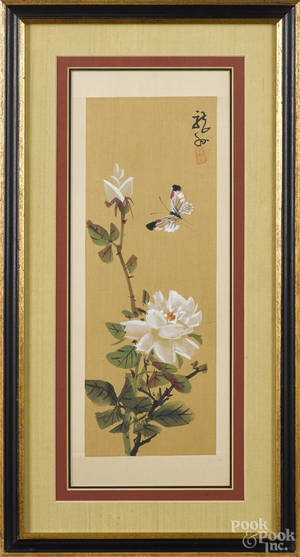 Two Japanese watercolor on silk panels
