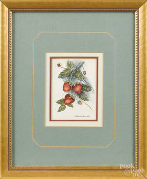 Watercolor still life of strawberries