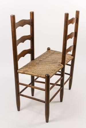 Small Ladderback Conversation Bench