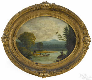 Two similar New England oil on panel primitive river landscapes 19th c