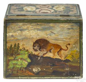 Pennsylvania painted poplar dresser box mid 19th c