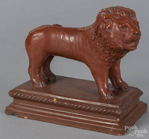 Redware figure of a lion early 20th c