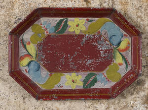 Pennsylvania red tole tray 19th c