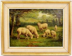 FC Courter Sheep Pastoral Oil on Canvas