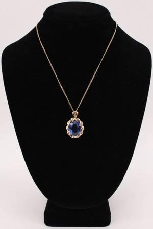 14k Gold  Blue Topaz Necklace