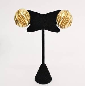 Ladies 18k Yellow Gold Omega Clip Earrings