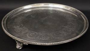 Large Round Elkington Silverplate Tray