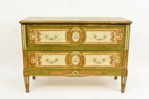 E 20th C Painted 2 Drawer Commode
