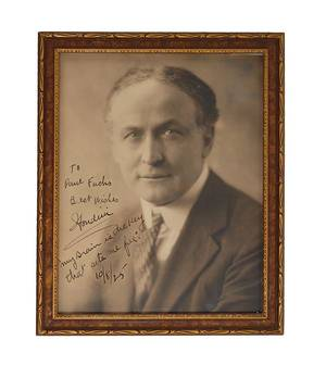 307 Bust portrait of Houdini signed and inscribed