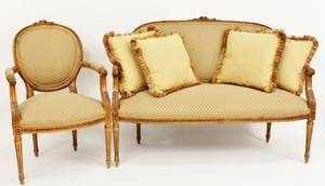 French Carved Settee and Armchair