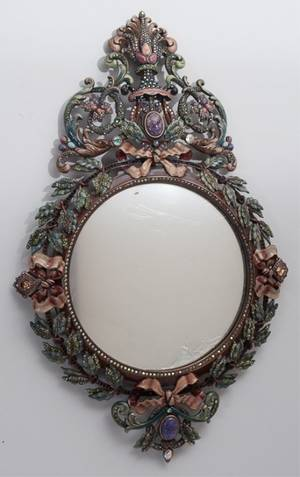 Jay Strongwater French Baroque Style Wall Mirror