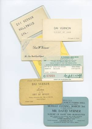 358 Group of Dai Vernon cards and tickets