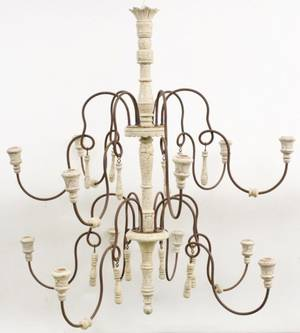 Metal and Wood Two Tier Opera Chandelier