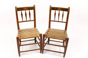 Pair of 19th C Painted Thumb Back Side Chairs