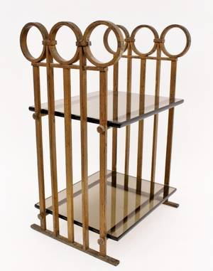 Arts and Crafts Iron  Glass Stand