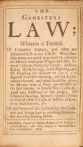 30 The Gamesters Law London Arthur Collins 1708