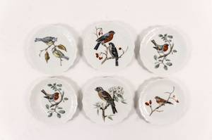 Set of 6 Limoges Porcelain Bird Plates