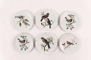 Set of 6 Limoges Porcelain Bird Plates