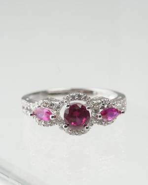 Sterling and Ruby Ring Lovely Sterling Silver Ring with