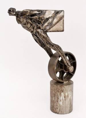 Industrial Brutalist Figural Sculpture Signed