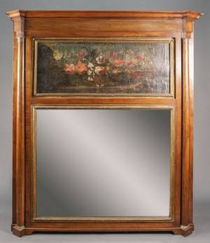 Large Trumeau Mirror With Floral Still Life