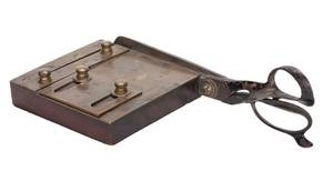 Early Brass Card Trimmer on Wooden Base American