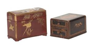 Two Wooden Playing Card Boxes Japanese Lacquer 1920