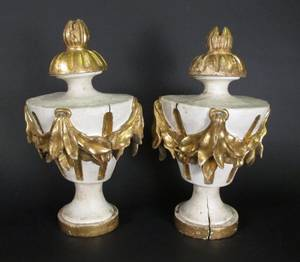 Pair of Carved Gilt Wood Urn Form Wall Sconces