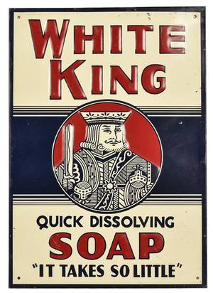 White King Soap Embossed Tin Sign American ca 1940