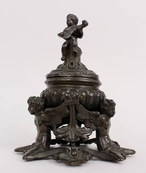 Figural Bronze Lidded Censor