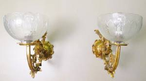 Pair of Victorian Metal  Glass Wall Sconces